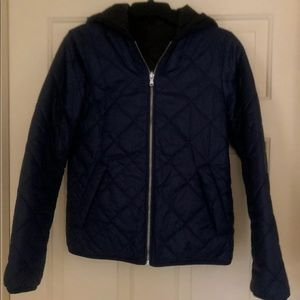 Express Reversible Hooded Puffer Jacket XS Navy